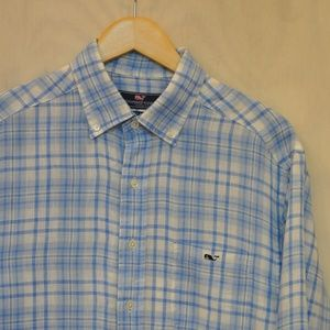 Altered Vineyard Vines Linen Tucker Shirt  M